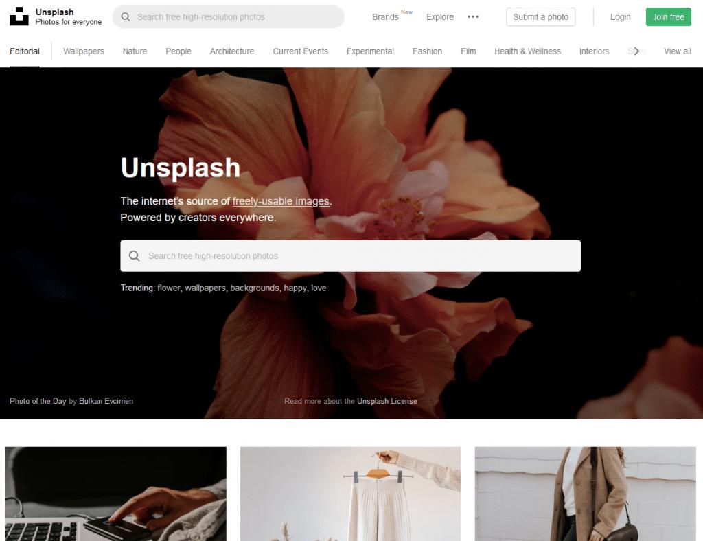 unsplash home - The Builder Hero