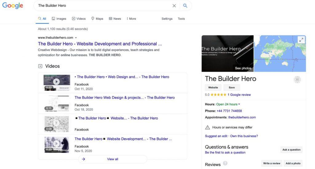 The Builder Hero Google My Business - The Builder Hero